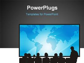 PowerPoint template displaying people sitting in front of a screen for presentation with grey color