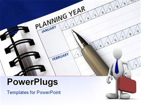 Planning the year on the day planner powerpoint theme