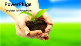 PowerPoint template displaying holding plant with two hands depicting care and nature
