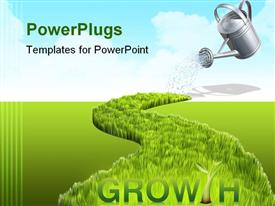 PowerPoint template displaying concept with watering grass and the can in the background.