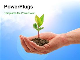 PowerPoint template displaying plant in hand depicting care with sky