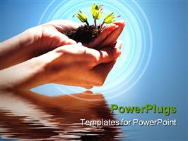 PowerPoint template displaying hands holding a plant reflected on water