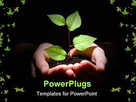 PowerPoint template displaying hands plant and soil showing concept of growth in the background.