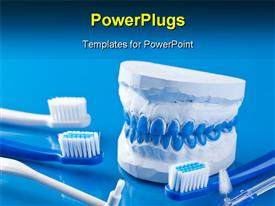 PowerPoint template displaying dental molds and toothbrushes with blue color