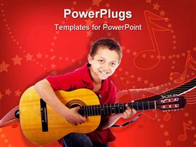PowerPoint template displaying a child holding the guitar with music symbols in the background