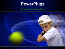 PowerPoint template displaying boy hitting ball with tennis racket and blue color
