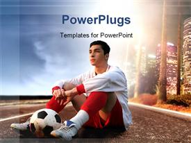 PowerPoint template displaying soccer player sitting on American road with a ball and skyline