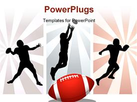 PowerPoint template displaying silhouettes of American rugby player with rays
