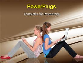 PowerPoint template displaying girls using laptop and listening to music on MP3 player in the background.