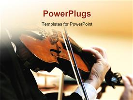 PowerPoint template displaying violinist playing symphony with brown color