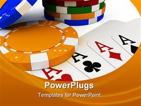 PowerPoint template displaying poker chip stack with four aces