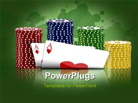 PowerPoint template displaying depiction with the subject of the poker game in the background.