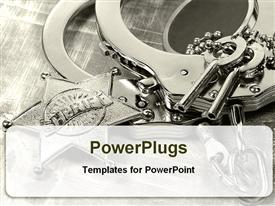 Handcuffs with keys for law enforcement powerpoint design layout