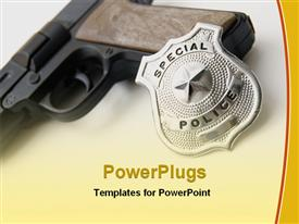 PowerPoint template displaying police badge and gun in the background.