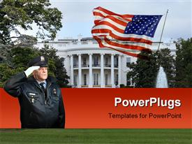 PowerPoint template displaying police officer with white gloves saluting and white house with american flag
