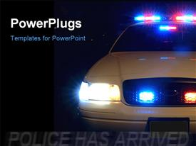 PowerPoint template displaying long exposure to capture the full array of police lights with black color