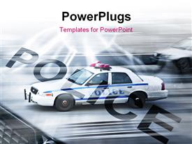 Police car in motion blur on the street of new York powerpoint design layout