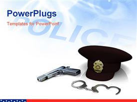 Police hat gun and handcuffs on white background presentation background