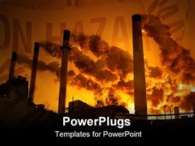 PowerPoint template displaying best at small sizes. Coal plant emitting pollution. Burning coal is a leading cause of smog acid rain