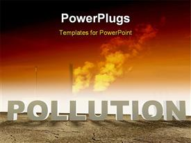 PowerPoint template displaying pollution concept with smoke in the sky