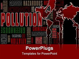 Graphic illustration of a collection of words relating to pollution powerpoint template