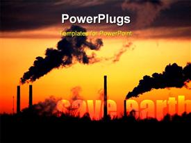 PowerPoint template displaying smoke coming out of factory depicting concept of pollution with yellow color