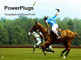 Polo player hit ball powerpoint design layout