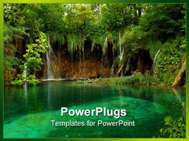 PowerPoint template displaying pond with crystal clear water in Croatia in the background.