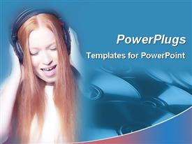 PowerPoint template displaying woman with long red hair singing while wearing headphones and CDs in blue background