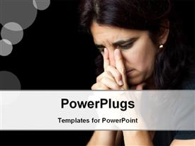 PowerPoint template displaying sad and stressed hispanic woman giving thoughtful expression with bubbles