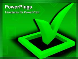PowerPoint template displaying an ok sign with greenish background