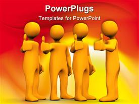 PowerPoint template displaying a number of people showing thumbs up with orange background