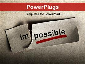 PowerPoint template displaying motivational concept with word impossible transformed into possible, grey texture
