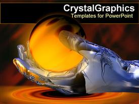 PowerPoint template displaying metallic hand holding glowing ball in the background.