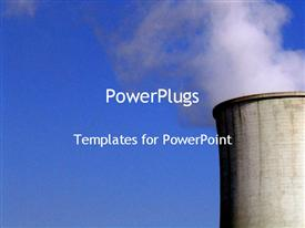 PowerPoint template displaying concrete power plant with smoke in corner on blue background
