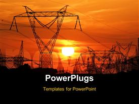 PowerPoint template displaying high voltage electric pole during nice sunset in the background.