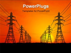 PowerPoint template displaying high voltage electric power lines with sunrise