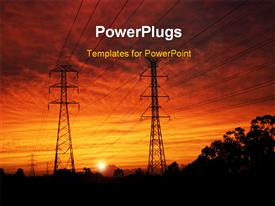 PowerPoint template displaying electrical pylons at dawn