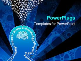 PowerPoint template displaying human head with gear machinery instead of brain and knowledge is power  power is knowledge message surrounding the head interior with alphabet letters coming out of the head