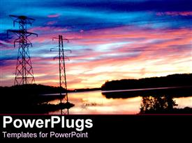 PowerPoint template displaying energy power poles with electricity lines over water with trees in the sunset setting and sky at sunset