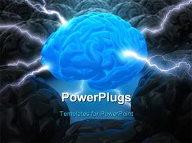 PowerPoint template displaying concept of leadership. The brain in the center has the power to lead in the background.