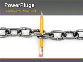 PowerPoint template displaying power of knowledge using chain and pencil with white color