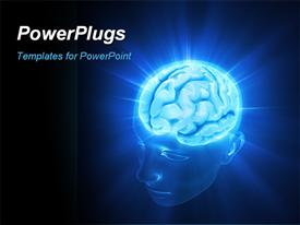 PowerPoint template displaying head illuminated by the energy of the brain. Concept of thinking the power of mind in the background.