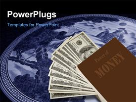 PowerPoint template displaying power of money book on studio lighting with black color