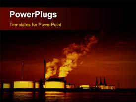 PowerPoint template displaying pollution coming out of factories with sea