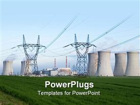 PowerPoint template displaying nuclear power station Dukovany Czech Republic - power lines and cooling towers containment buildings