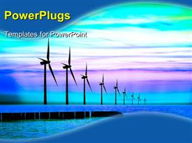 PowerPoint template displaying blue energy power wind mills with colorful sky
