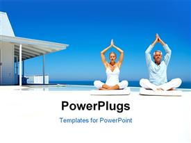 PowerPoint template displaying happy couple on the beach practicing yoga with a cottage