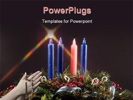 PowerPoint template displaying fifth candle lit during advent represents the candle of Christ with black color