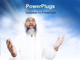 PowerPoint template displaying stock depiction of Arabic man praying over open sky background